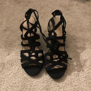 Black Strappy Lace-up Heel Sandal